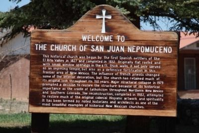 Welcome to the Church of San Juan Nepomuceno Marker image. Click for full size.