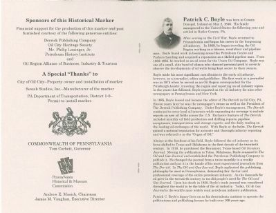 Patrick C. Boyle Marker Dedication Program image. Click for full size.