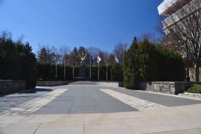 WWII Memorial as seen from sidewalk mere feet from 4 Chaplains memorial image. Click for full size.
