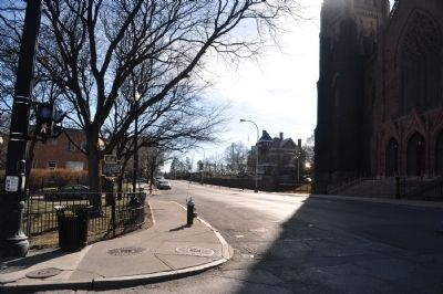 Bleecker Park Marker as seen facing west on Eagle image. Click for full size.