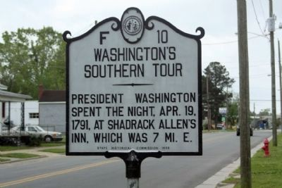 Washington's Southern Tour Marker, 222 years ago today image. Click for full size.