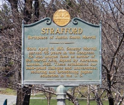 "Strafford ""Birthplace of Justin Smith Morrill"" marker image. Click for full size."