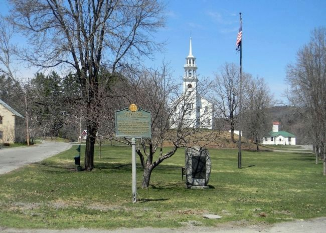 "Wide view of the Strafford ""Birthplace of Justin Smith Morrill"" marker image. Click for full size."