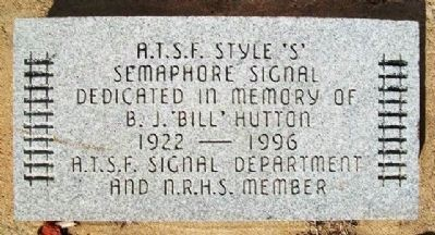 ATSF Style 'S' Signal Dedication Marker image. Click for full size.