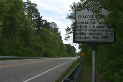 Peacock's Bridge Marker on North Carolina Route 58, here looking south image. Click for full size.