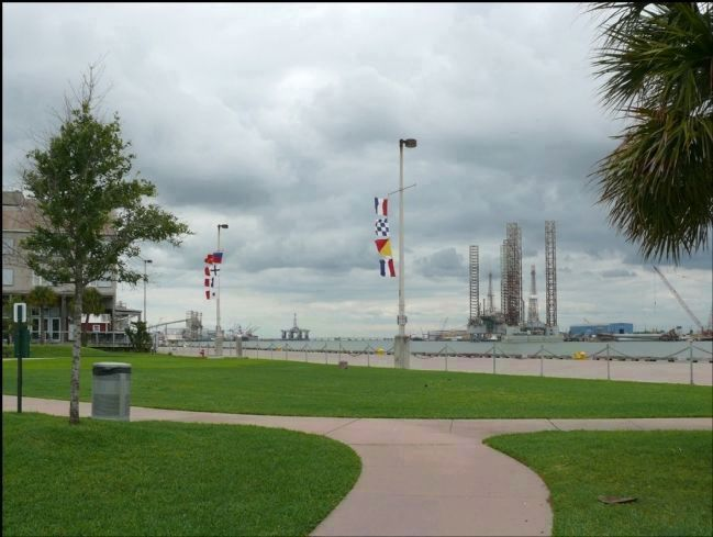 First Navy of the Republic of Texas Marker as Seen from Near Pier 20 image. Click for full size.