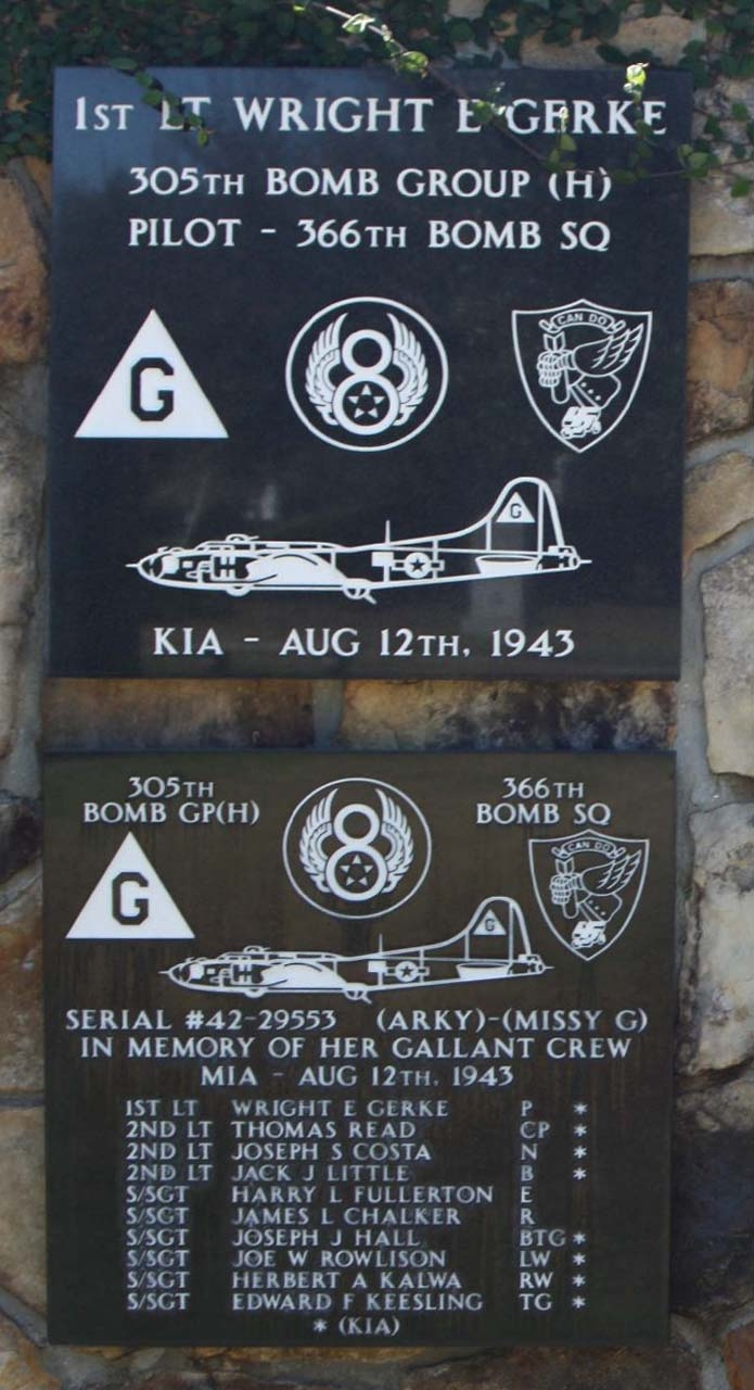 305th Bomb Group 1st Lt Wright E Gerke