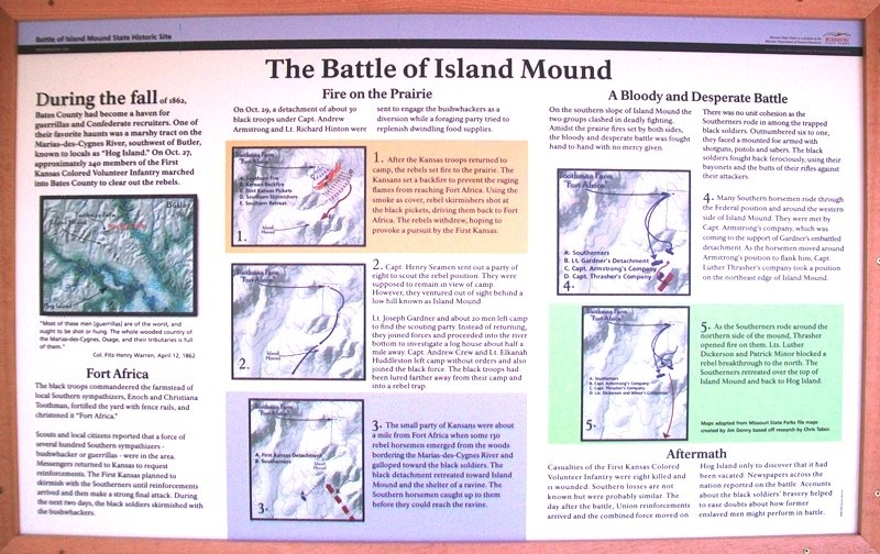 The Battle of Island Mound Marker