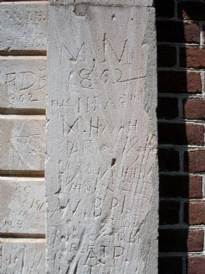 Civil War graffiti and sword marks at Pohick Church image. Click for full size.