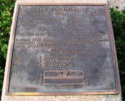 The Founders of the Salina Town Company Marker image. Click for full size.