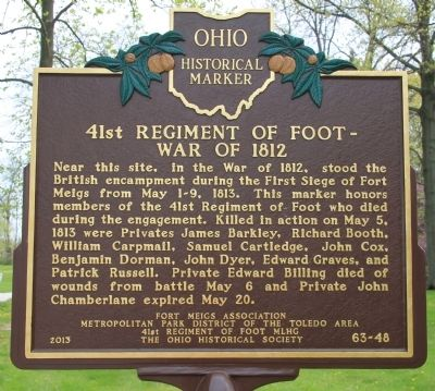 41st Regiment of Foot - War of 1812 Marker image. Click for full size.