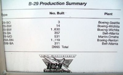"B-29 ""Superfortress"" Production Statistics on Marker image. Click for full size."