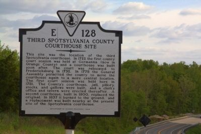 Third Spotsylvania County Courthouse Site Marker image. Click for full size.