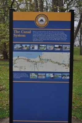 Back side of New York State Canals Marker image. Click for full size.