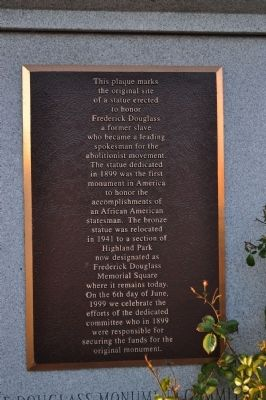 Original Site of Frederick Douglass Monument Marker image. Click for full size.