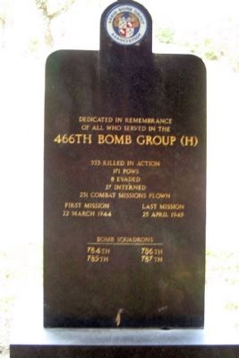 466th Bomb Group (H) Marker, Back side image. Click for full size.