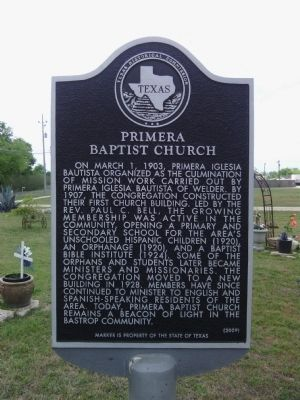Primera Baptist Church Marker image. Click for full size.