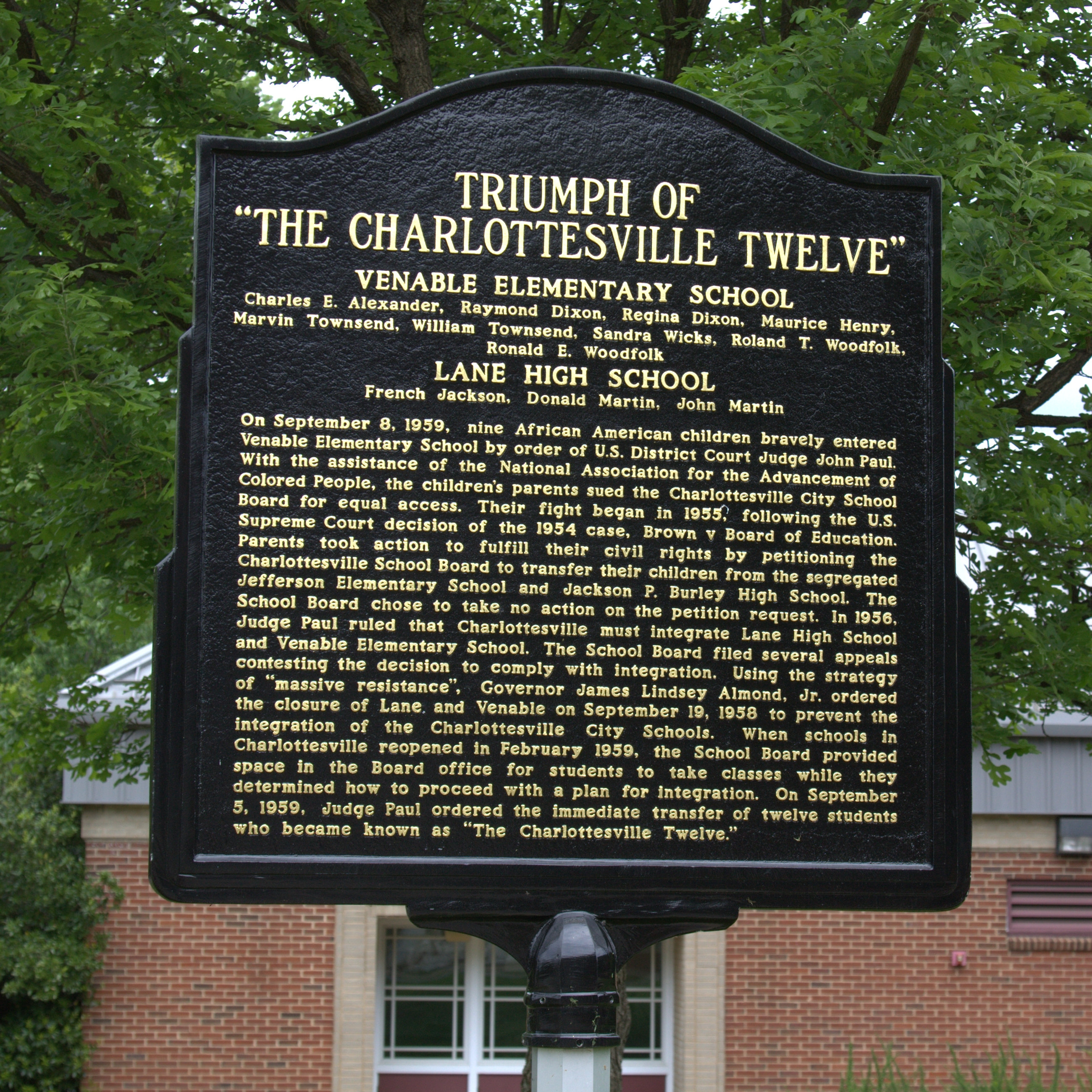 "Triumph of ""The Charlottesville Twelve"" Marker"