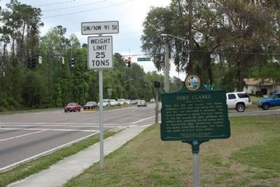 Fort Clarke Marker, looking east along West Newberry Road image. Click for full size.