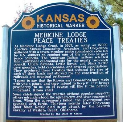 Medicine Lodge Peace Treaties Marker image. Click for full size.