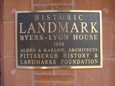 Byers-Lyon House Marker image. Click for full size.