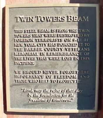 Twin Towers Beam Marker image. Click for full size.