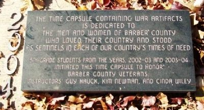 Barber County Veterans Memorial Time Capsule Marker image. Click for full size.