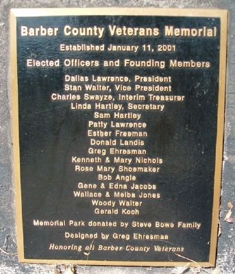 Barber County Veterans Memorial Committee image. Click for full size.