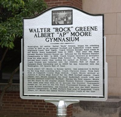 "Walter ""Rock"" Greene Albert ""AP"" Moore Gymnasium Marker image. Click for full size."