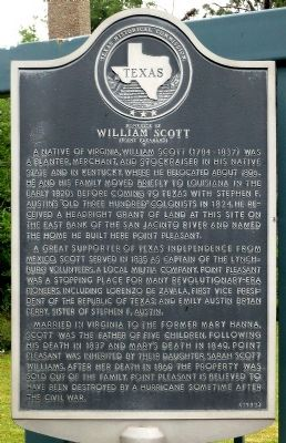 Homesite of William Scott (Point Pleasant) Marker image. Click for full size.