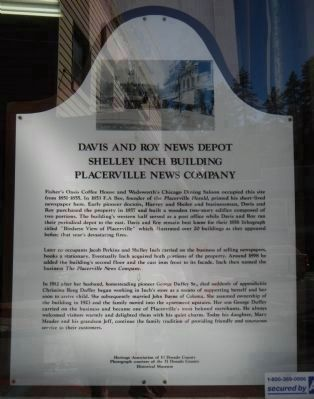 Davis and Roy News Depot / Shelley Inch Building / Placerville News Company Marker image. Click for full size.