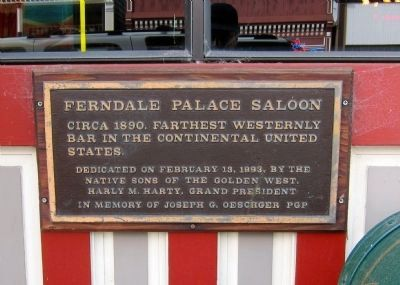 Ferndale Palace Saloon Marker image. Click for full size.