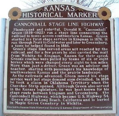 Cannonball Stage Line Highway Marker image. Click for full size.
