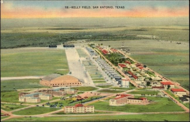 Kelly Field colorized linen postcard. image. Click for full size.