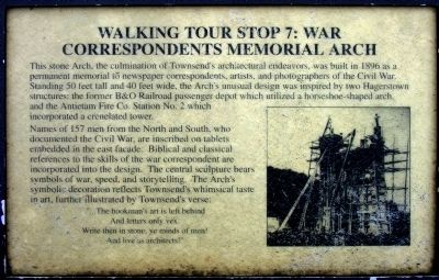 War Correspondents Memorial Arch Marker image. Click for full size.