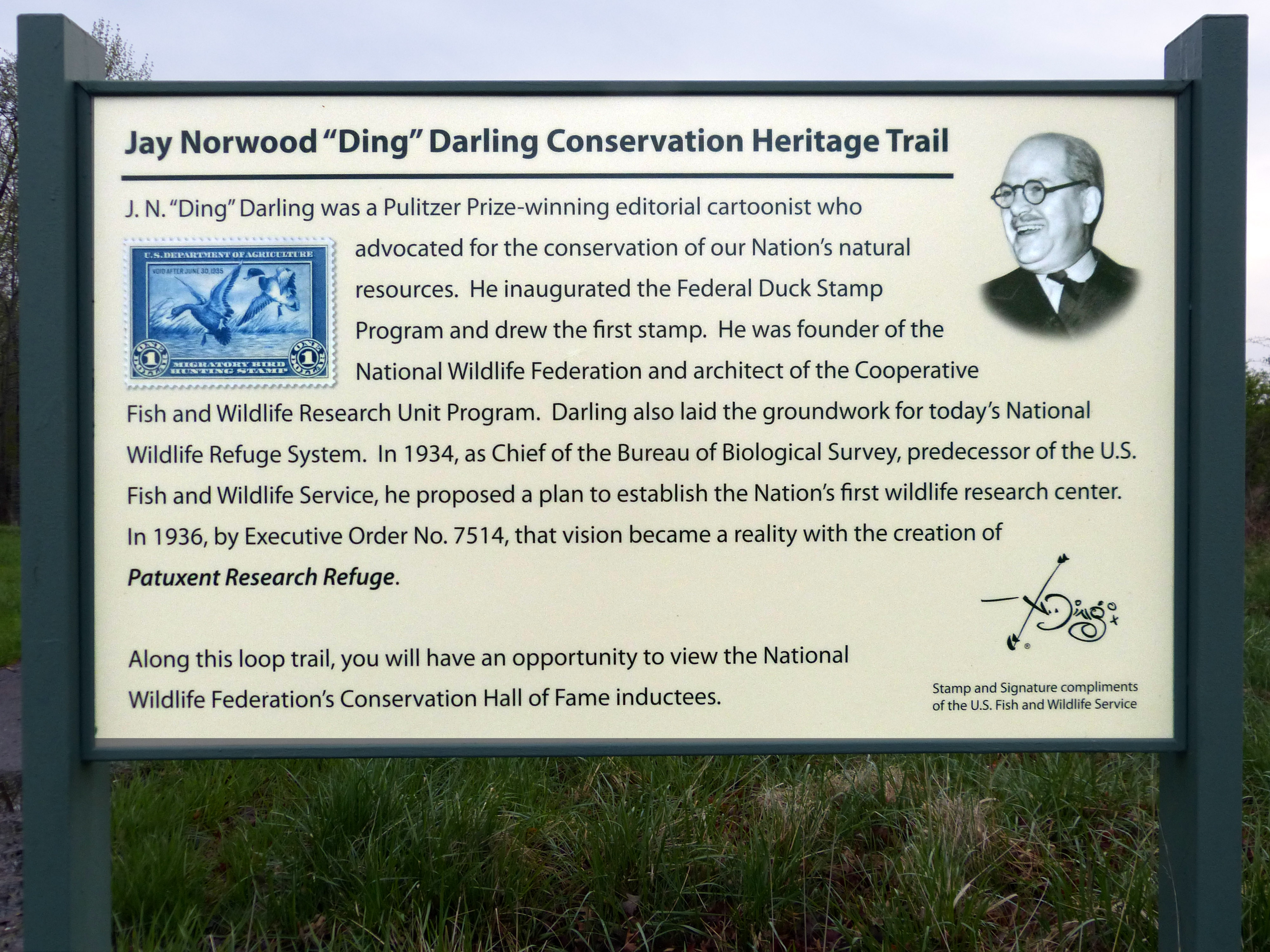 "Jay Norwood ""Ding"" Darling Conservation Trail Marker"