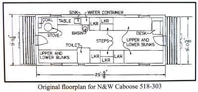 Orginal Floorplan for N&W Caboose 518-303 image. Click for full size.