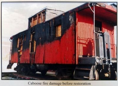 Caboose fire damage before restoration image. Click for full size.