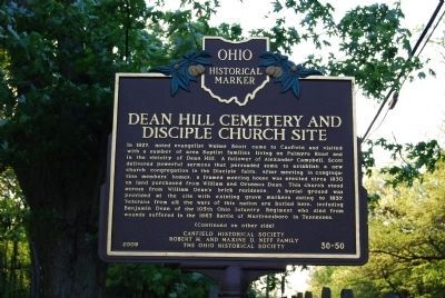 Dean Hill Cemetery and Disciple Church Site Marker - Side A image. Click for full size.