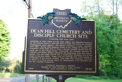 Dean Hill Cemetery and Disciple Church Site Marker - Side B image. Click for full size.