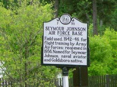 Seymour Johnson Air Force Base Marker image. Click for full size.