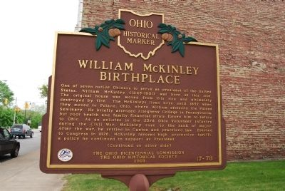 William McKinley Birthplace Marker - Side A image. Click for full size.