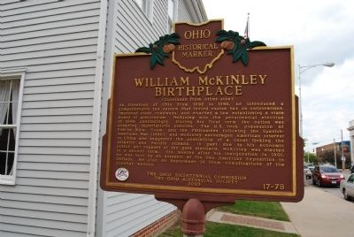 William McKinley Birthplace Marker - Side B image. Click for full size.