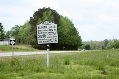 Blount Hall Marker seen along southbound NC 11 image. Click for full size.