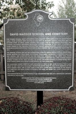 David Haeger School and Cemetery Marker image. Click for full size.