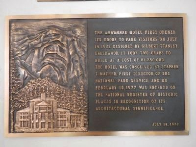 Plaque in the Ahwahnee's lobby image. Click for full size.
