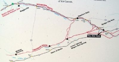 Santa Fe Trail Routes Map on Sites to the West & South Marker image. Click for full size.