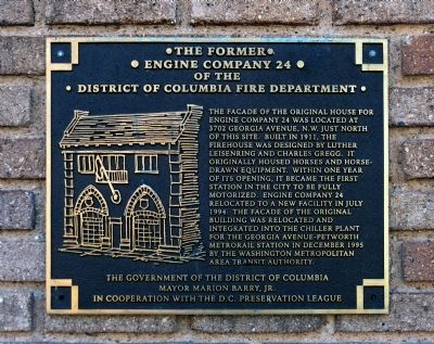 The Former Engine Co 24 of the District of Columbia Fire Department Marker image. Click for full size.