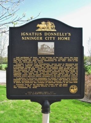 Ignatius Donnelly's Nininger City Home Marker image. Click for full size.