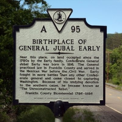 Birthplace of General Jubal Early Marker image. Click for full size.
